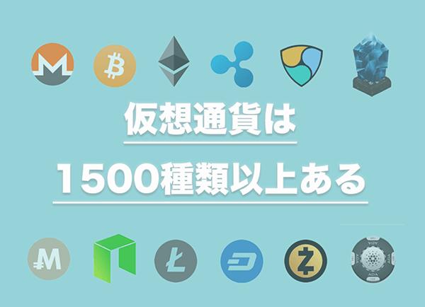 仮想通貨は1500種類以上ある